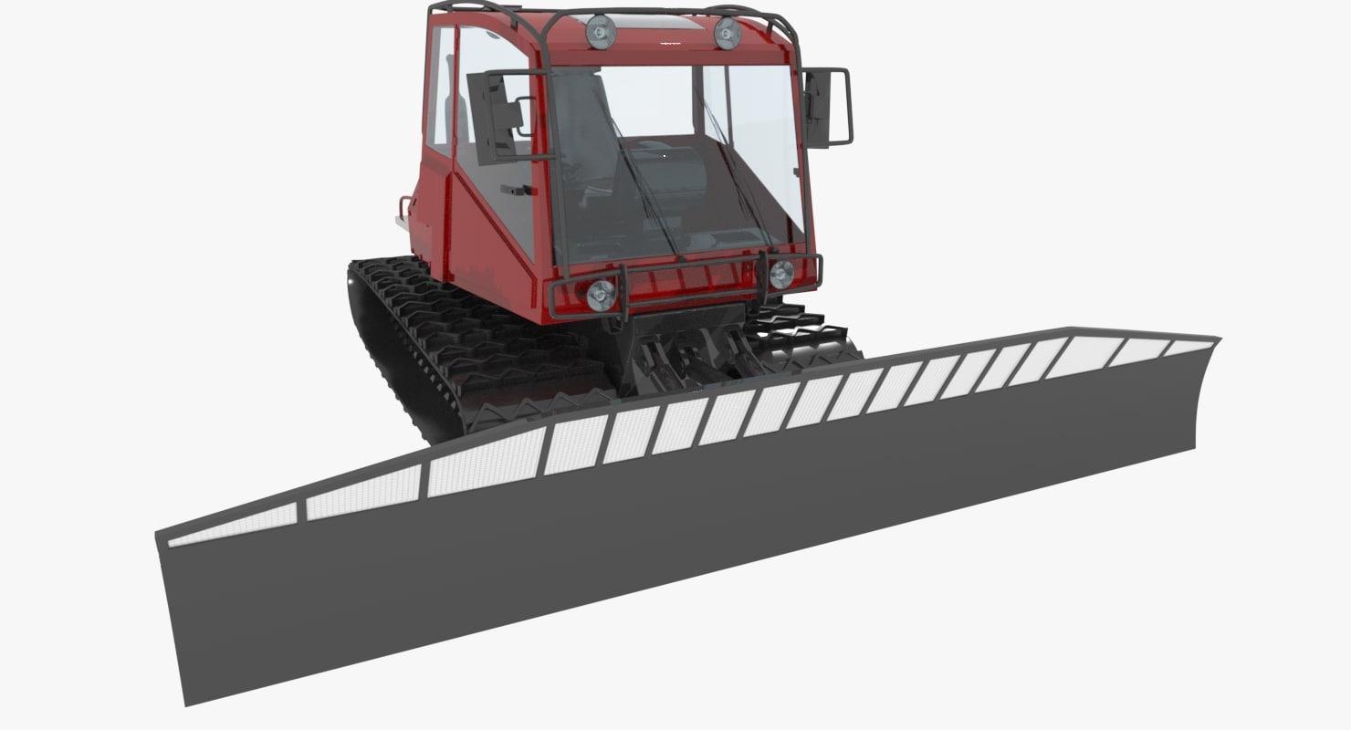 3d model of snowcat tracked vehicle snow