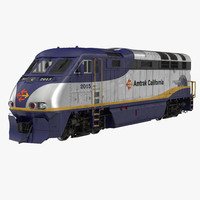 Diesel Electric Locomotive F59 PHI Amtrak 3D Model