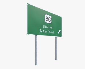 3d model highway sign