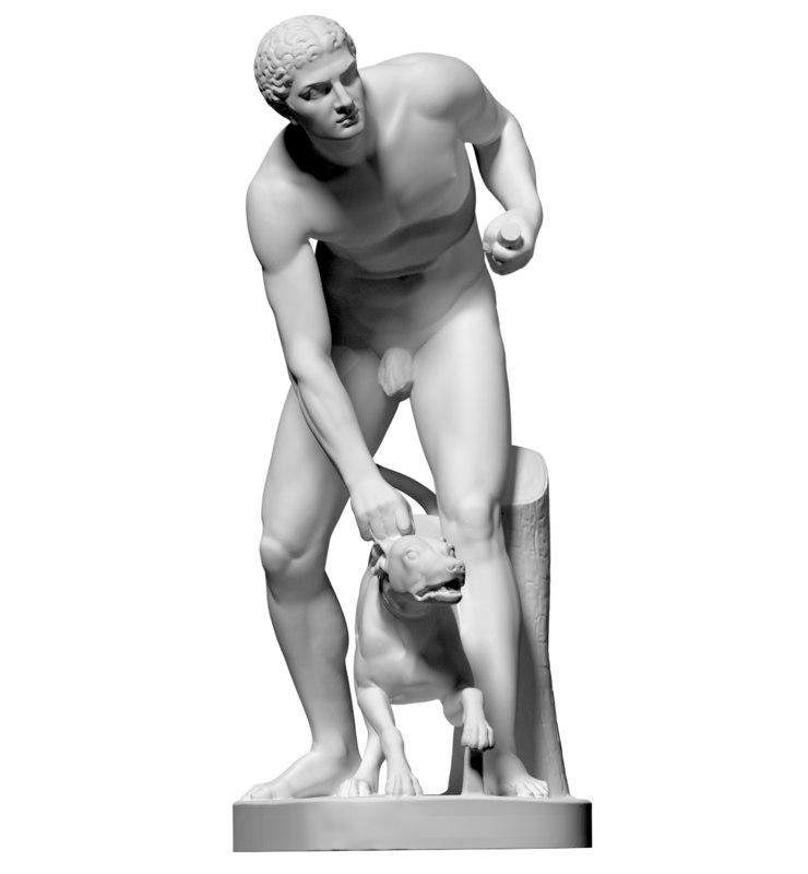 scan statue hunter dog obj free