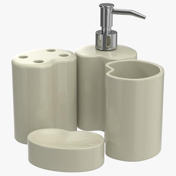 bathroom accessories set 2 3d model