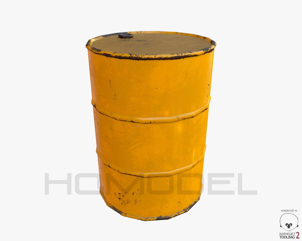 free oil barrel pbr 3d model