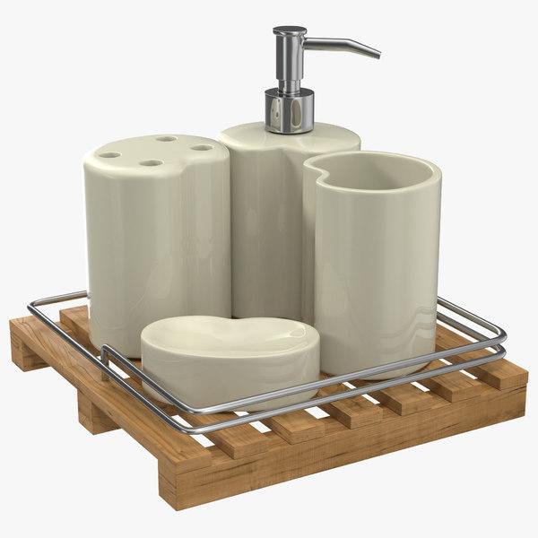 3d model bathroom accessories set modeled