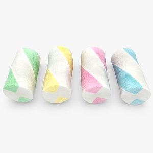 3d marshmallow 03 4 colors model