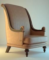 armchair leather orange 3d obj