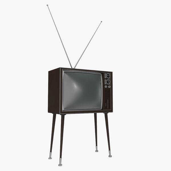 retro tv 4 modeled 3d 3ds
