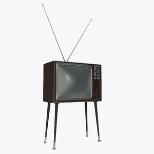 retro tv 4 modeled 3d 3ds