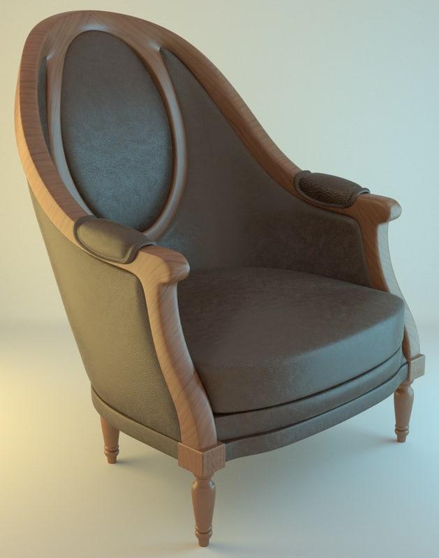 3d armchair brown model