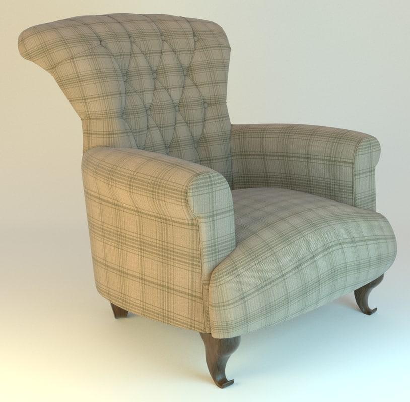 armchair fabric 3d obj