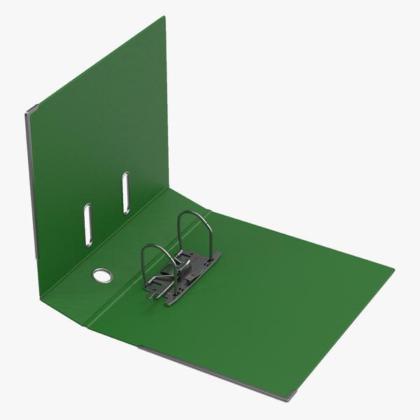 3d open ring binder green model