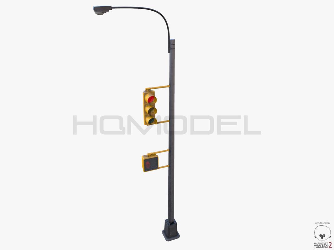 3d model traffic light lamp pbr