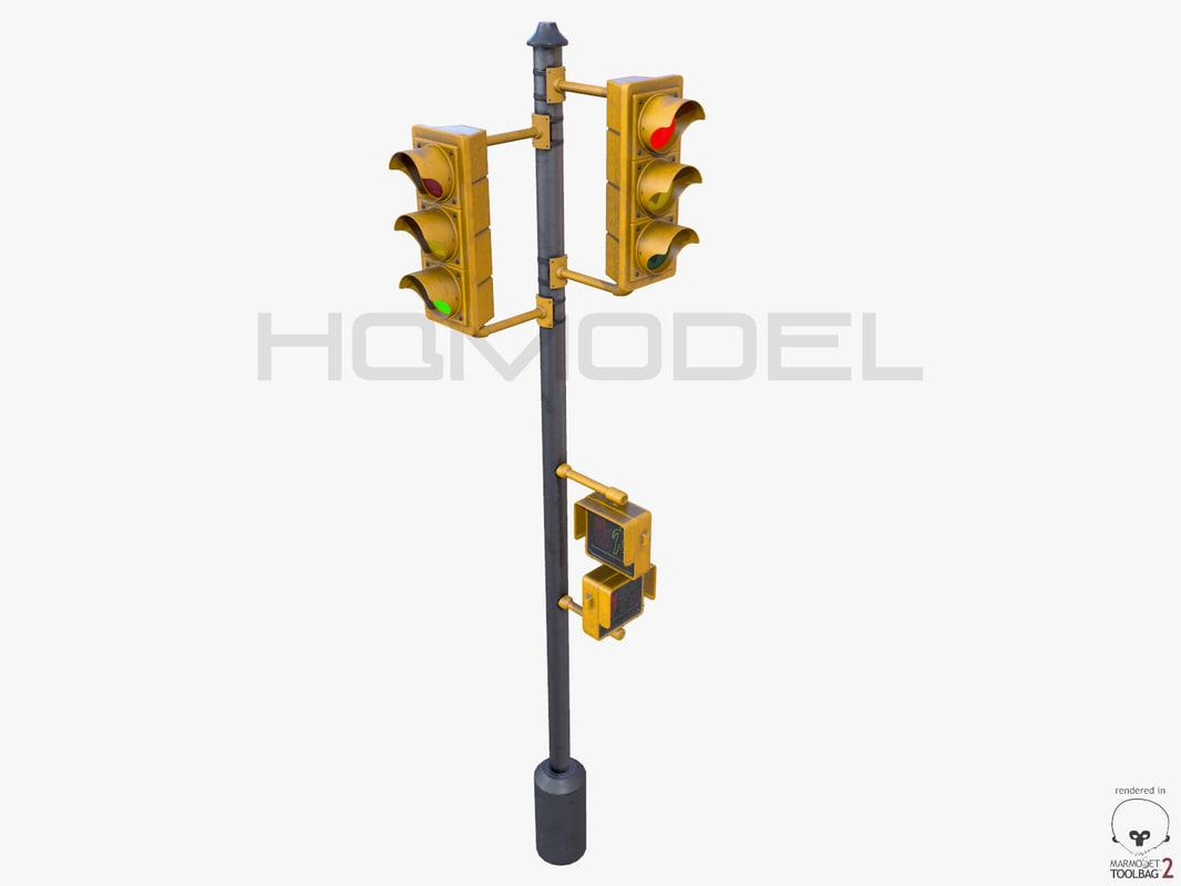 traffic lamp pbr 3d model