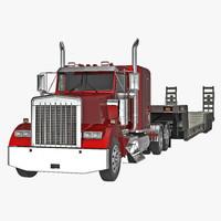 3d model truck double drop lowboy