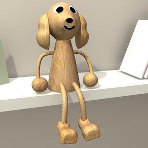 3d model wooden dog