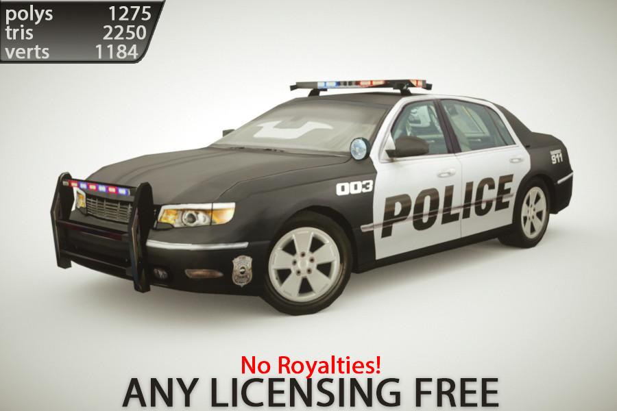 3d model generic police sedan