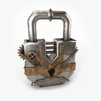3dsmax padlock steampunk