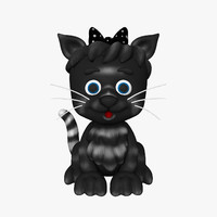 kitten cat cartoon 3d max