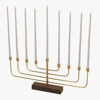 3d model menorah gold