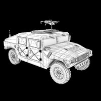 3d military humvee machine gun model