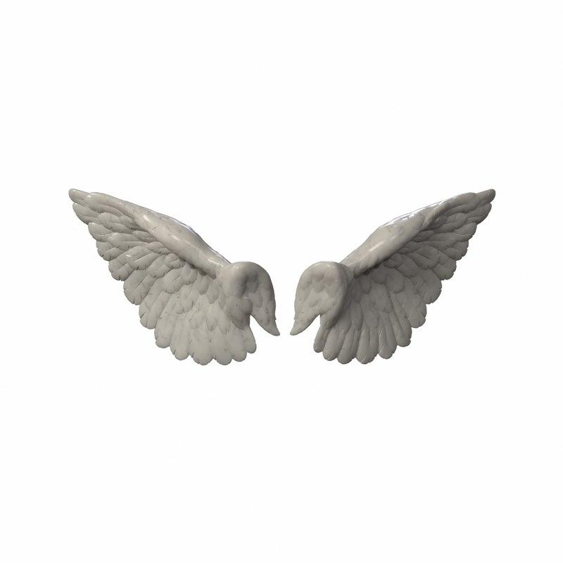 3d wings angel sculpture model