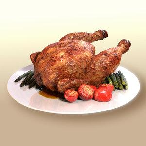 realistic fried chicken 3d model