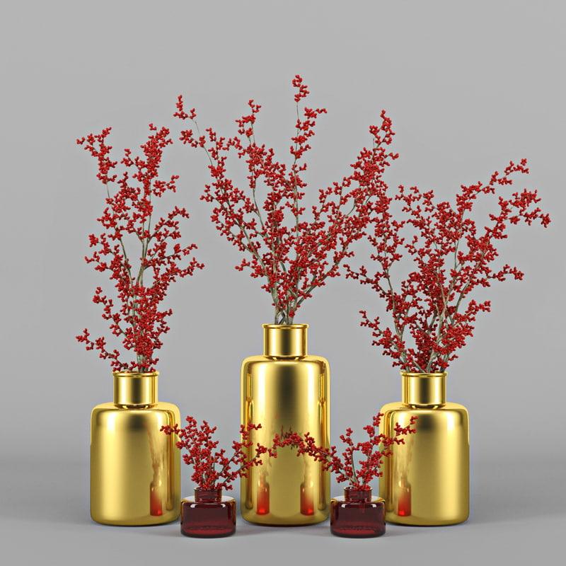 3d berries vase branch model