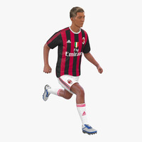 3d soccer player milan rigged model
