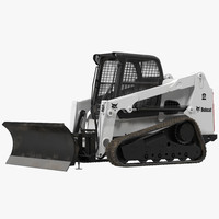 Compact Tracked Loader Bobcat With Blade 3D Model
