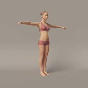 3d young female character rigged