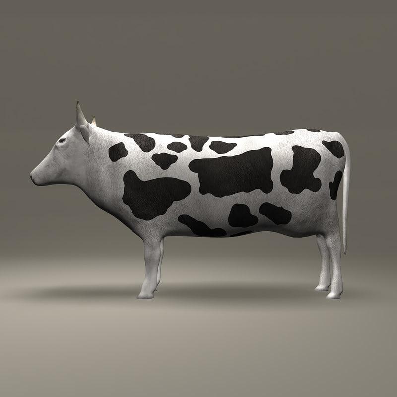 cow black white 3d model