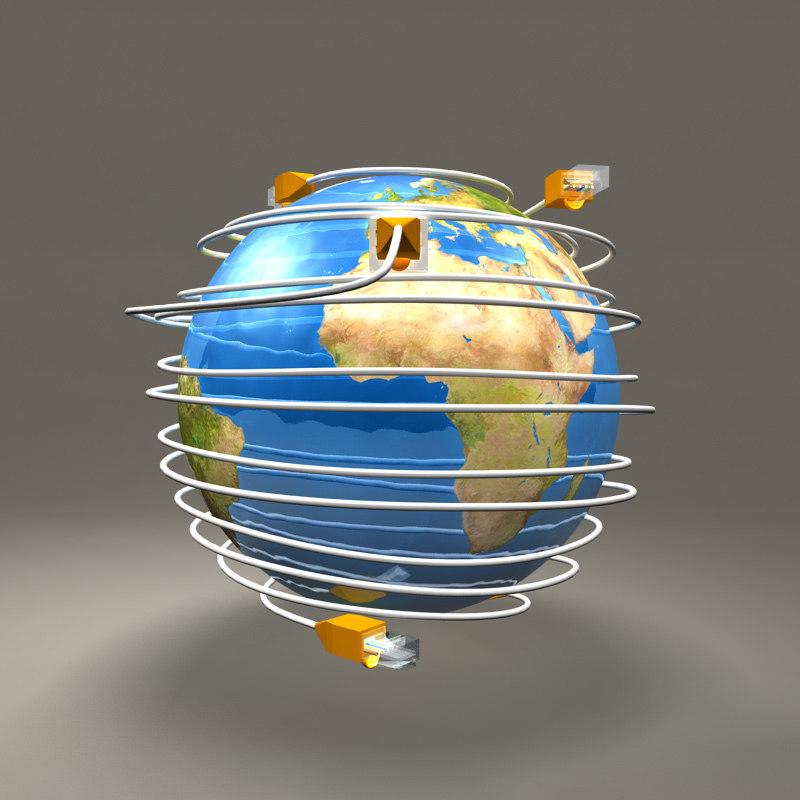 ethernet cables globe 3d obj