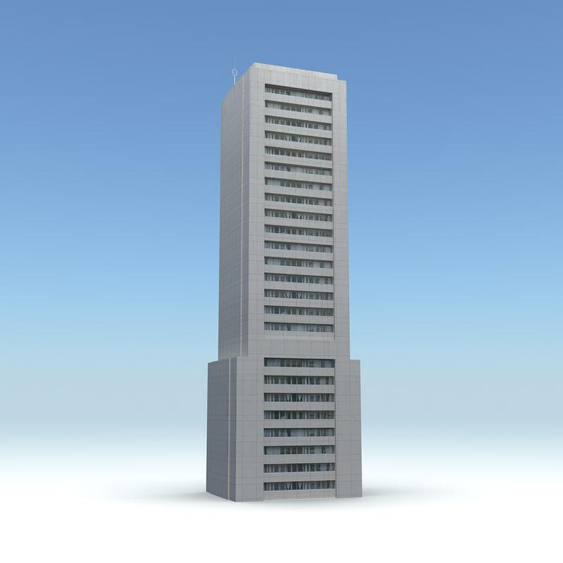 skyscraper 22 day night 3d obj