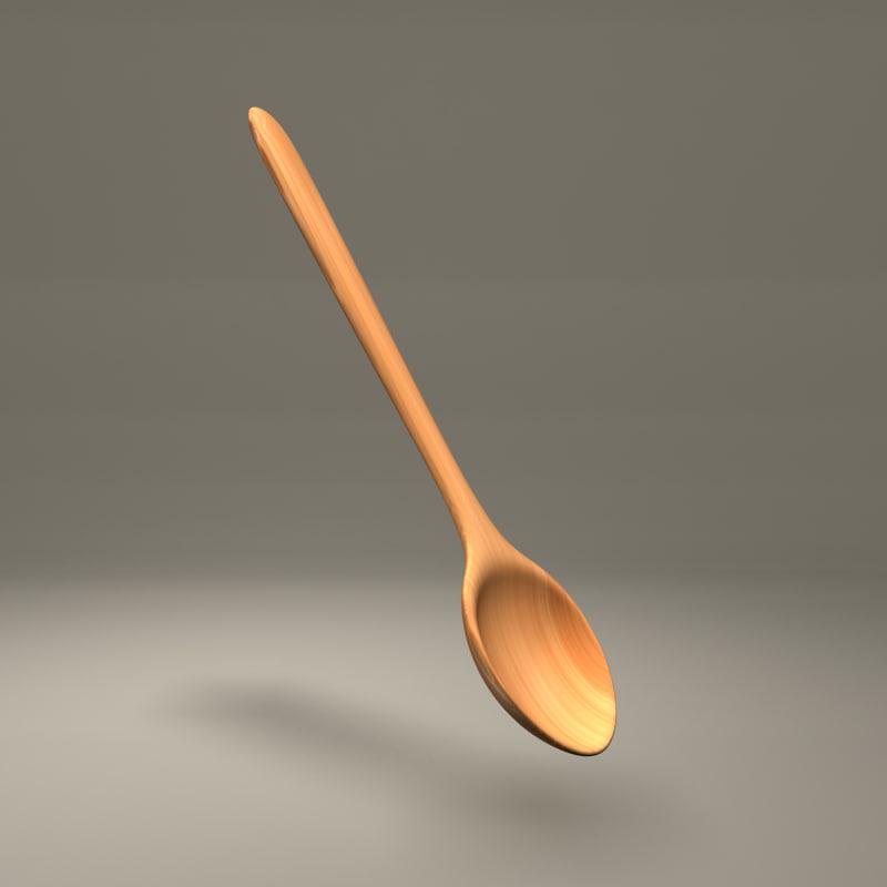 3d obj spoon wooden