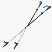 hiking poles wind 3d model