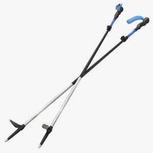 hiking poles wind 3d model