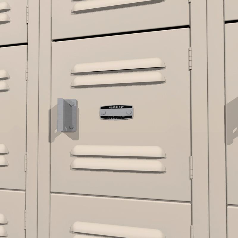 3d lockers doors open model