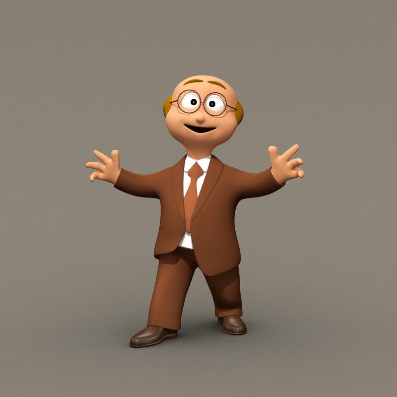 maya funny business man character rigged