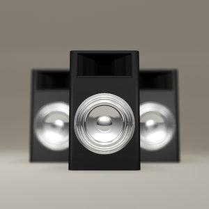 black subwoofer chrome speakers obj