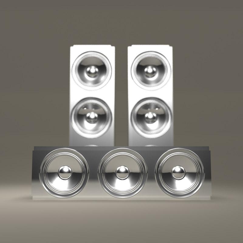 obj futuristic chrome speaker