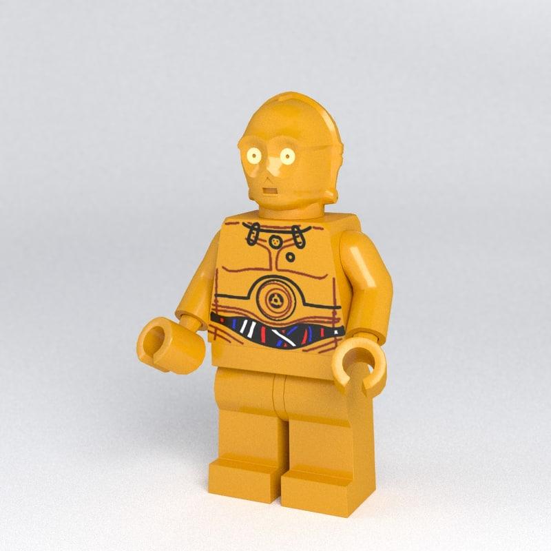 3d model lego c3po