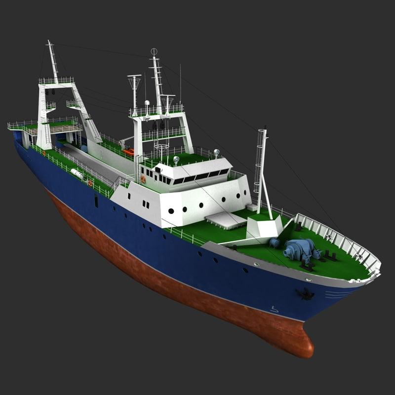 stern trawler 3d model