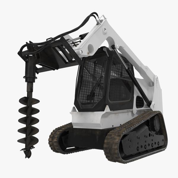 compact tracked loader auger 3d model