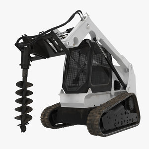 compact tracked loader auger 3d model
