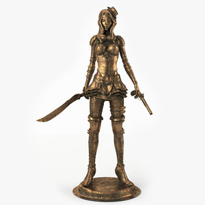 3d model woman steampunk statue