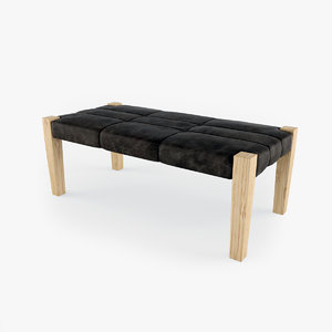 leather bench stool 3d 3ds