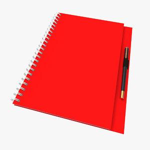 spiral red book pen c4d