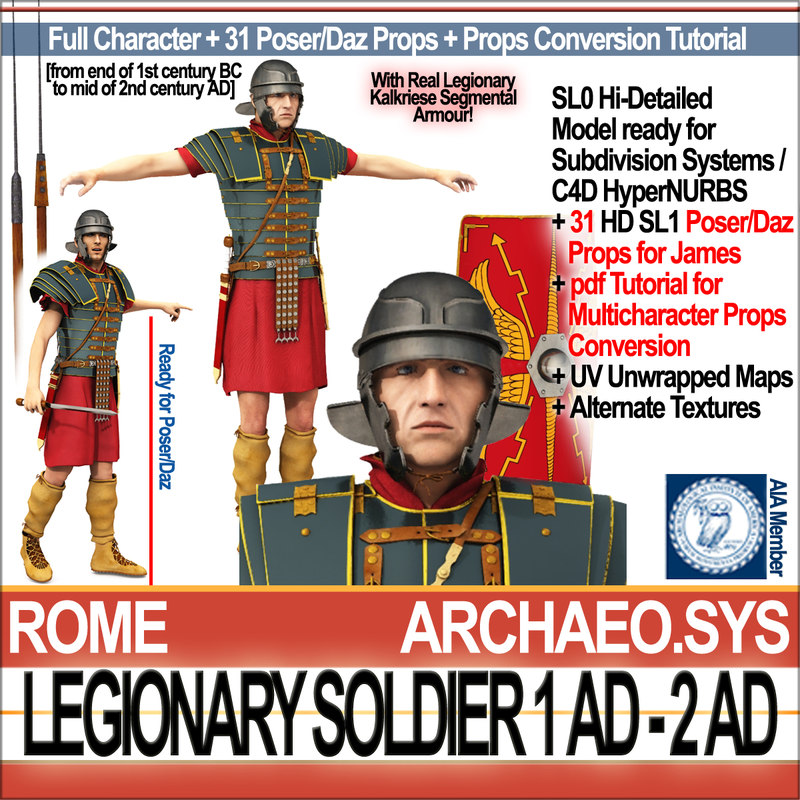 3d ancient roman legionary soldier model