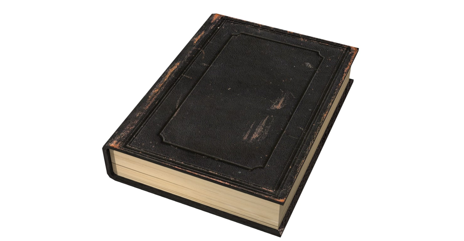 Black Leather Book Cover : Fbx worn leather book