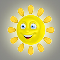 3d max cool cartoon sun