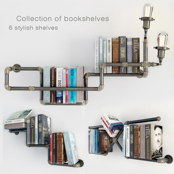 bookshelves vintage indastial 3d model